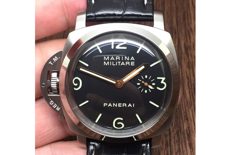 Panerai PAM 217 H ZF 1:1 Best Edition Superlumed Dial on Black Leather Strap A6497 with Y-Incabloc